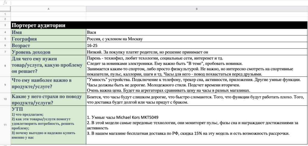 Скриншот таблицы с портретом клиента
